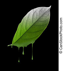 environmental damage - color dropping off from green leaf,...