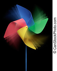 spinning pinwheel - colorful pinwheel spinning against black...