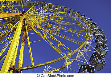 Closeup of a ferris wheel at Bavarian Oktoberfest