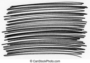 Black ink scribble on white paper abstract pattern