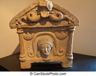 Etruscan urn - Photo of ancient Etruscan funeral urn