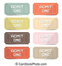 Admit One Tickets Retro Vector Set