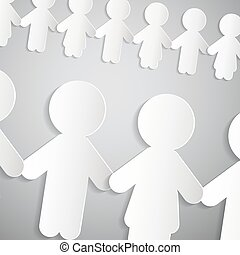 Paper People Chain Vector Background