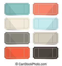 Retro Vector Empty Tickets Set Isolated on White