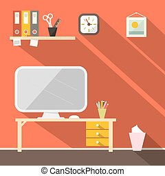 Studying Room - Office Vector Illustration