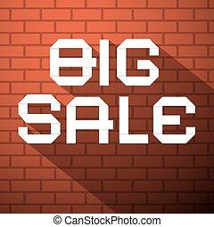 Big Sale Vector Title on Dark Red Bricks Background