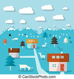Winter Mountain Landscape Flat Design Abstract Vector Illustration