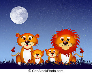 Lions family - illustration of lions family