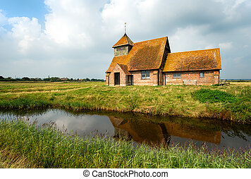 Romney Marsh in Kent - The church at Fairfield on Romney...