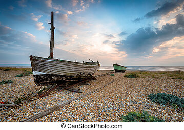 Boats on the Beach in Kent - Fishing boats on a shingle...