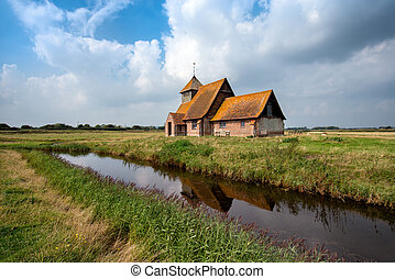 The English Countryside - An English countryside church at...