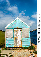 Beach Hut - Tatty unloved old blue beach hut