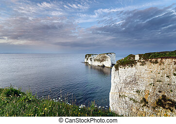 Old Harry Rocks - chalk sea stacks of the coast near Swanage...