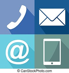 Contact buttons set - email, envelope, phone, mobile icons...