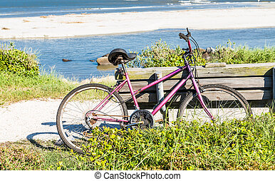 Old Purple Bike Leaning on Bench by the Sea - An old purple...