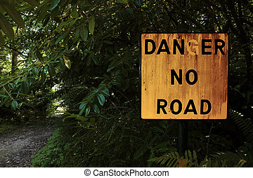 no road - danger sign in knockanore county waterford in the...