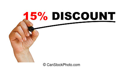 15 discount - Hand underlining 15 discount with red marker
