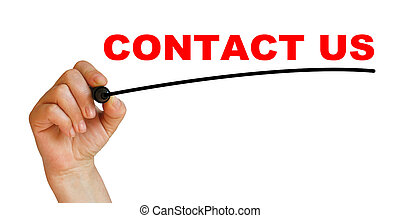 CONTACT US - Hand underlining CONTACT US with red marker