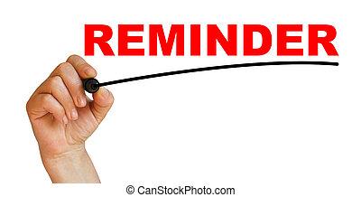 Reminder - Hand underlining Reminder with red marker