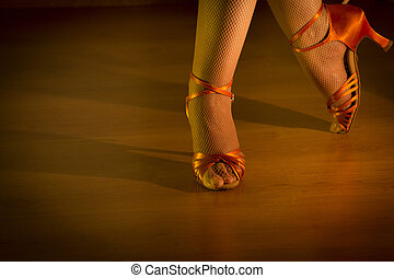 Latin woman dancing feet - Feet woman dancing with heeled...