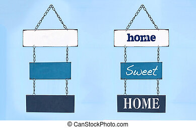 Sweet home sign on board hang on interior wall and blank...