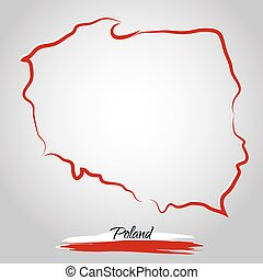 Map of Poland - Vector map of Poland with colors of flag, on...