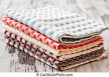 Colorful Kitchen Napkins - Colorful square checked kitchen...
