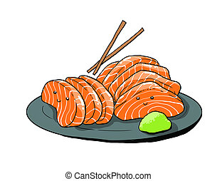 salmon sashimi cartoon illustration - cute salmon sashimi...