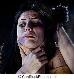 mujer, ser, estrangulado, Durante, violencia,