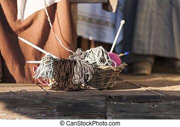 knitting workwoman and