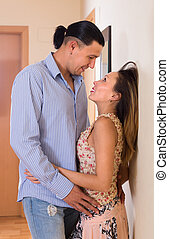 Adult couple having sex at home