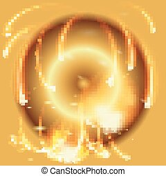 Abstract gold background with vector flames and firework...
