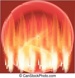 Abstract fire circle red background