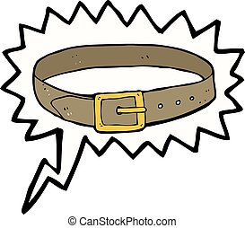 cartoon leather belt with speech bubble