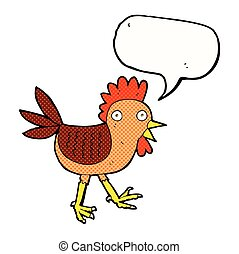 funny cartoon chicken with speech bubble