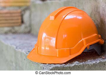 trabalhador, equipamento, construção, segurança, laranja, capacete