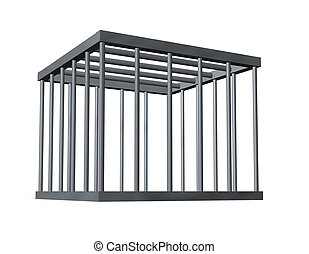 cage on white background - 3d illustration