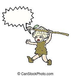 cartoon caveman with speech bubble