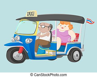 TUK-TUK Thailand Taxi with Driver and Passenger