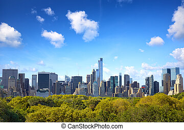 Manhattan with Central Park - Manhattan skyline with Central...