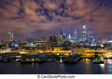 Philadelphia skyline at night, US