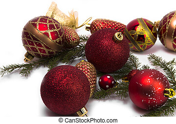 Various christmas tree baubles