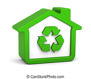 Recycled House - Green house with recycle sign in a white...