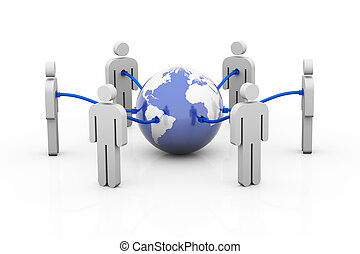 Connected People - People connected to the world wide web by...