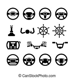 Set icons of steering wheel, marine steering, helm, bicycle and motorcycle handlebar