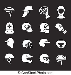 Set icons of helmets and masks isolated on black