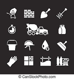 Set icons of cement and concrete isolated on black