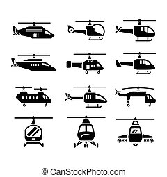 Set icons of helicopters