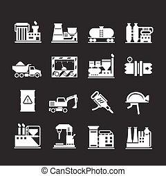 Set icons of industrial and factory isolated on black