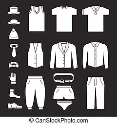 Set icons of men's clothes and accessories